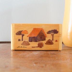 vtg 1970s mini wood box